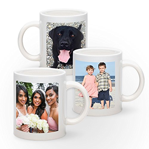 Personalized 11oz White Ceramic Mug - Add Photo, Logo, or Image to This Custom Coffee Mug. BPA-free, Microwaveable & Top Shelf Dishwasher Safe. Great for Birthdays, Anniversaries, Graduations, Holiday