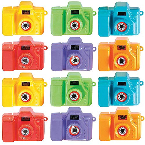 (Plastic Mini Clicking Cameras - Pack of 12 - 2 Inches, Assorted Colors - View Pictures of Animals - for Kids Boys and Girls, Great Party Favors, Fun, Toy, Gift, Prize, School Reward - by Kidsco)