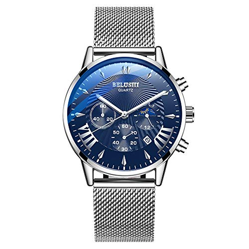 (New Arrival Mens Watches Waterproof Chronograph Watches Business Casual with Calendar Luminous Slim Stainless Steel Band Wrist Watch for)