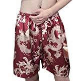 Comaba Men's Comfort Silk Relaxed-Fit Print Knit Pajama Pants 3 M