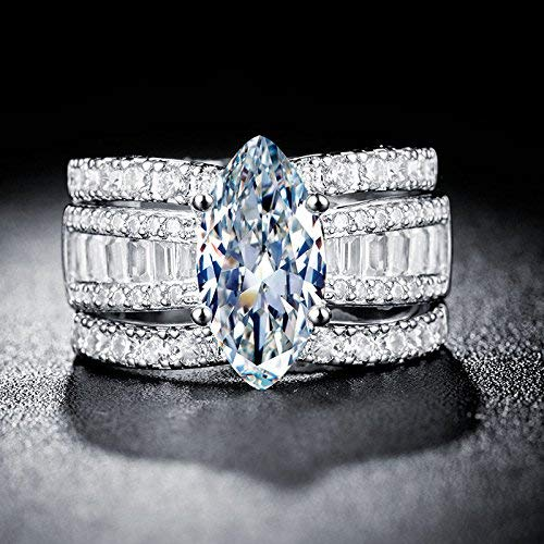 - Saengthong 925 Silver Jewelry Marquise Cut White Sapphire Women Wedding Ring Size 6-10 (8)