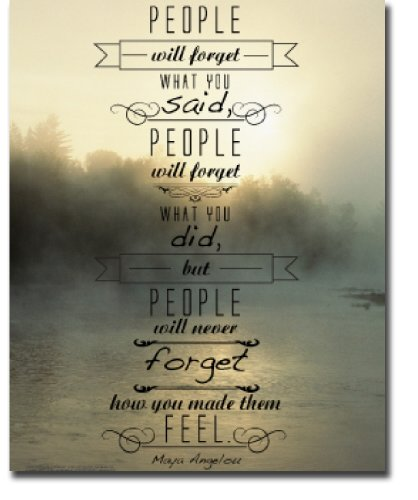 Motivational & Inspirational Poster, Maya Angelou Quote, People will forget what you said, people will forget what you did, but people will never forget how you made them feel. Laminated Print