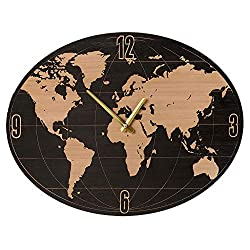 CBK Midwest Vintage Style World Map Wall Clock