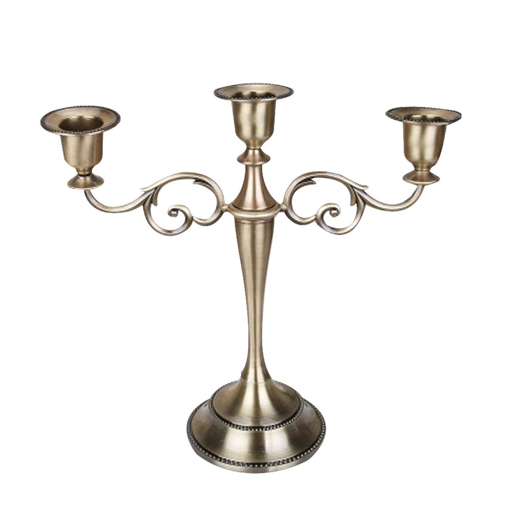 Supporto per Candela a 3 Bracci per Evento di Matrimonio TOPmountain Candeliere in Metallo a 3 Candele Colore Oro candeliere Alto 27 cm portacandele