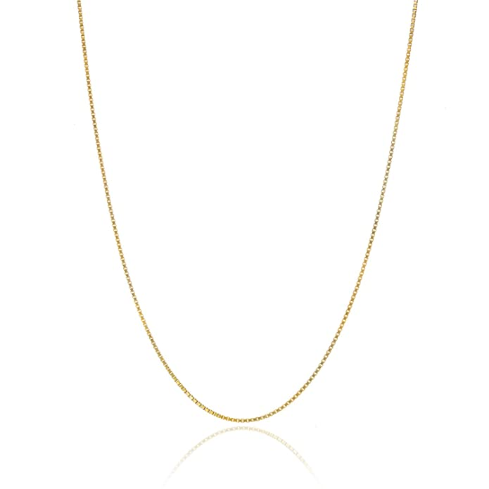 "Review 18K Gold over Sterling Silver .8mm Thin Italian Box Chain Necklace All Sizes 14"" - 40"""