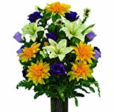 Yellow Dahlia White Lily and Purple Rose Artificial Bouquet, featuring the Stay-In-The-Vase Design(c) Flower Holder (LG1731)