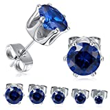 MDFUN 18K White Gold Plated Round Created Sapphire Blue Spinel Stud Earring Pack of 5 Pairs (5 Pairs)