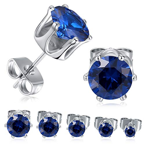 MDFUN 18K White Gold Plated Round Created Sapphire Blue Spinel Stud Earring Pack of 5 Pairs (5 (18k White Gold Plated Sapphire)