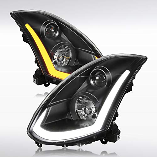 Autozensation For Infiniti G35 2Dr Coupe Black Integrated LED Signal Projector Headlight (Coupe Coupe G35 Infiniti)