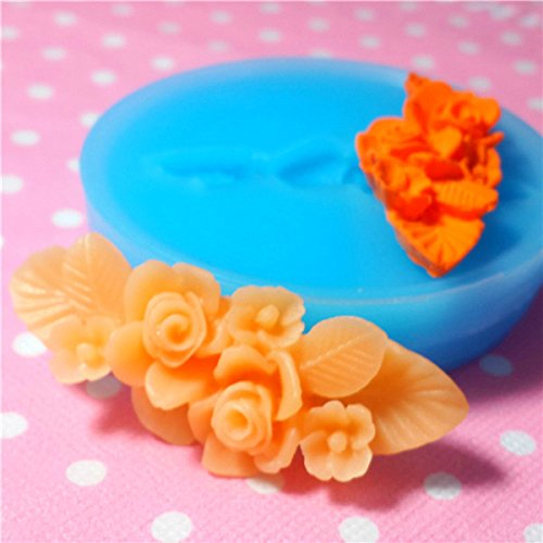 009LBH Vintage Flower Rose Barrette Silicone Flexible Push Mold - Miniature Food Sweets, Jewelry, Charms (Clay Fimo Fondant (Barrette Mold)