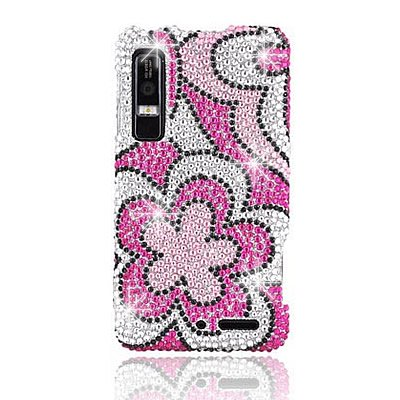 Hard Snap on case With HOT PINK FLOWER Rhinestones Bling Bling Full Diamonds Desing Faceplate Sleeve Cover for MOTOROLA XT862 DROID 3 (VERIZON) With PRY Tool Removal Case [WCG471] ()