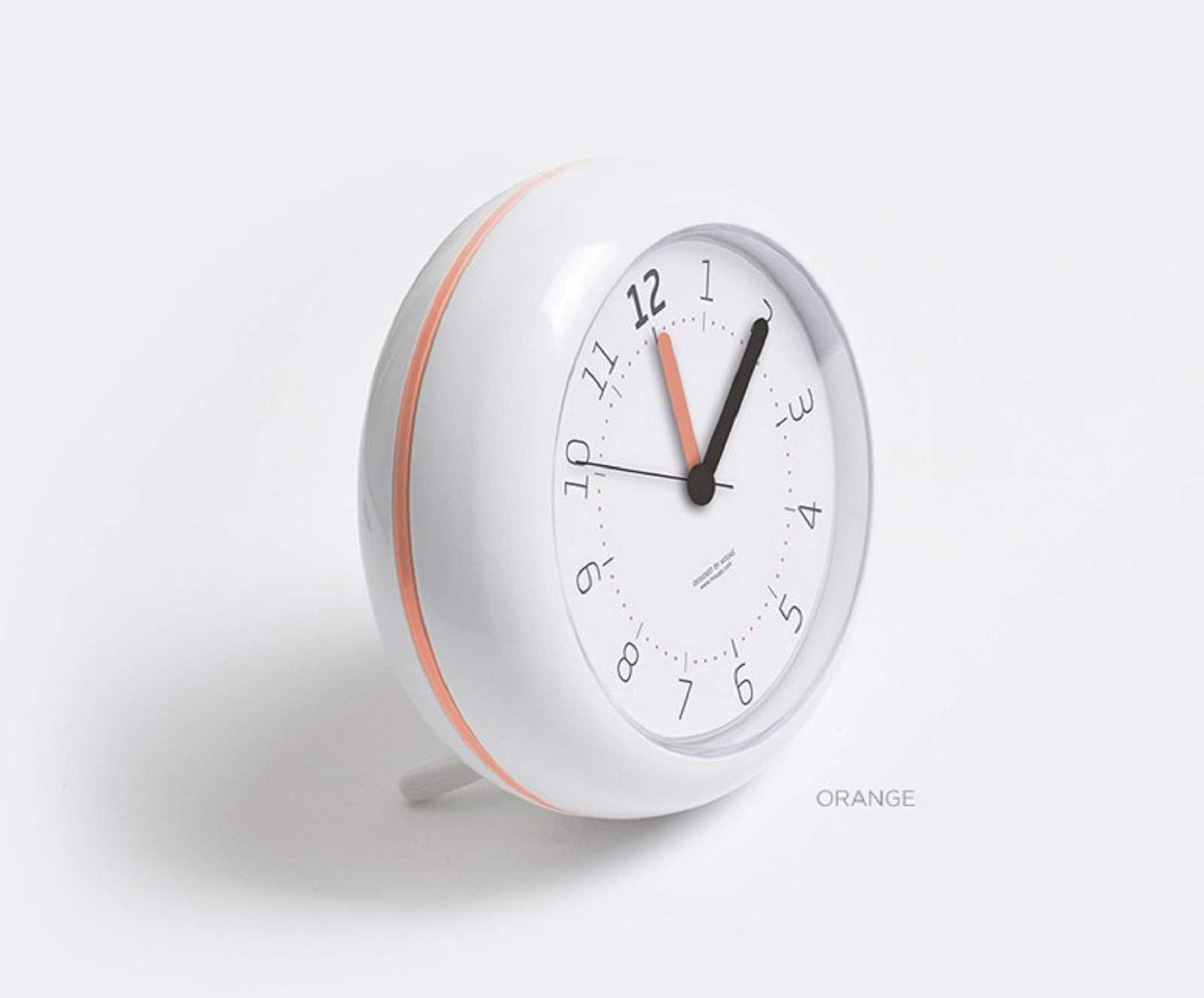 Mooas Waterproof Bathroom Shower Kitchen Desk Clock Silent Non Ticking Quartz Decorative Modern Round Clock 4.7'' (Orange) by Mooas