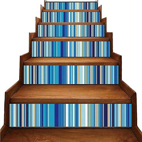 Stripe Repeating - Blue Nice Stairs Sticker,Vertical Stripes Repeating Retro Revival Pattern Funky Abstract Composition Decorative for Home,39.3