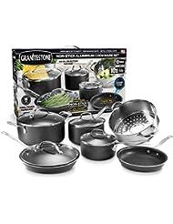 GRANITESTONE 2228 10-Piece Nonstick Cookware Set, Scratch-Resistant, Granite-coated Anodized Aluminum, Dishwasher-Safe, PFOA-Free As Seen On TV