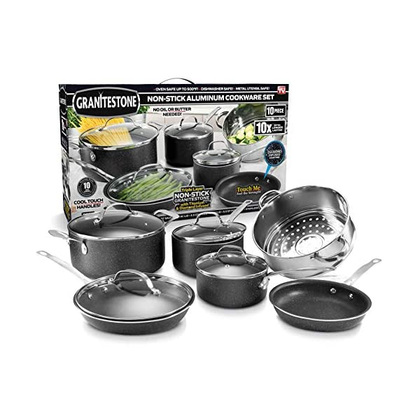 GRANITESTONE 10 Piece Nonstick Cookware Set, Scratch-Resistant, Granite-Coated, Dishwasher and Oven-Safe, PFOA-Free As… 1