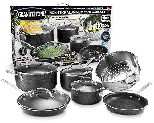 GRANITESTONE 10 Piece Nonstick Cookware Set, Scratch-Resistant, Granite-Coated, Dishwasher and Oven-Safe Kitchenware…