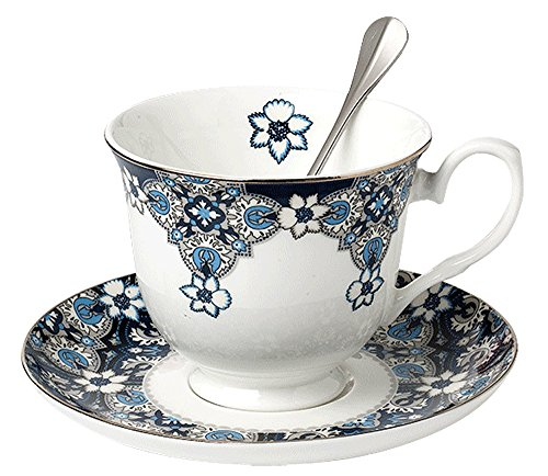 Jusalpha Venus Style Bone China Teacup Saucer and Spoon Set In Gift Box (Teacup set)