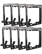 Yaesport 10-Pack 2 Gang Low Voltage Mounting Bracket Wall Plate with Mounting Screws for Telephone Wires, Network Cables, Coaxial, Speaker Cables and HDMI, Black