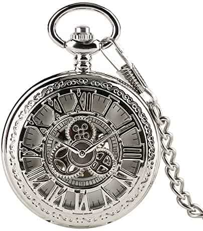 Vintage Men's Pocket Watch, Hollow Gear Roman Numbers Design Mechanical Pocket Watch with Chain, Gift for Men