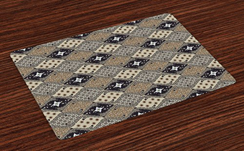 Ambesonne Asian Place Mats Set of 4, Indonesian Javanese Style Batik Pattern Wavy and Floral Design Old Fashioned Tile, Washable Fabric Placemats for Dining Table, Standard Size, Black Tan ()