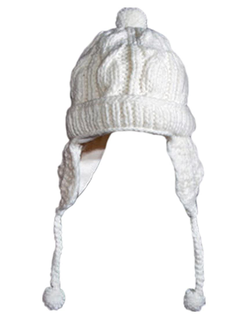 Invisible World Otavalo Wool Cotton Blend Hat Cable Chullo Md White