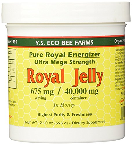 YS Royal Jelly/Honey Bee Pure Royal Energizer - Royal Jelly in Honey - Ultra Mega Strength - 21 oz (Pack of 3)