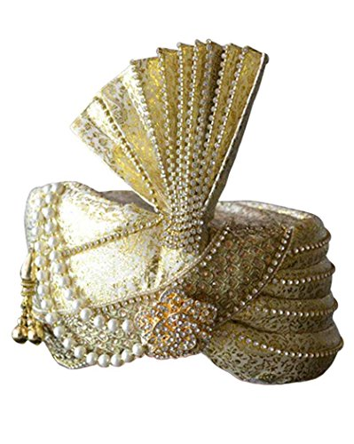 INMONARCH Mens brocade turban pagari safa hat for groom TU1015 23-inch Golden by INMONARCH