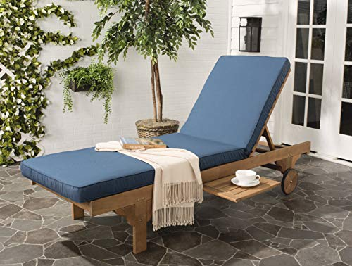Safavieh PAT7022B Newport Chaise Lounge Chair, Natural/Navy