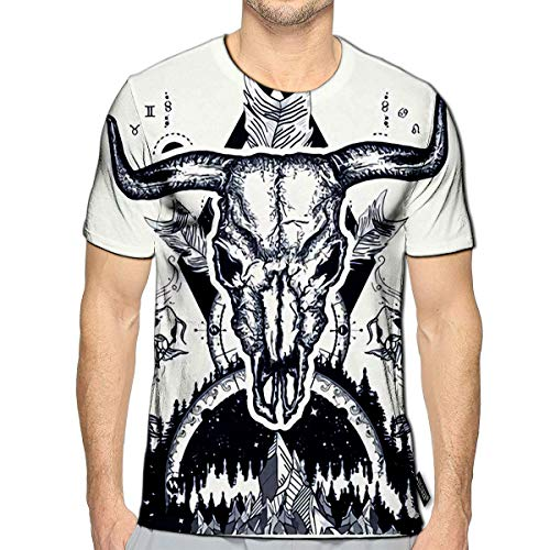 3D Printed T-Shirts Bull Skull and Mountans Compass Carps Crossed Arrows Tattoo Design Boho Style Advent Short Sleeve Tops Tees e