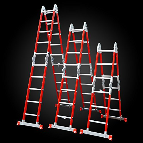 Kulbart Multipurpose Folding Ladder Fiber Glass 22 FT WF-406 300 LBS Load Capacity Lightweight