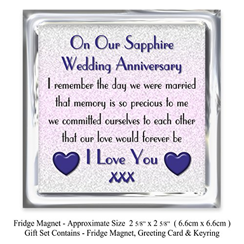 45th Wedding Anniversary Gift.My Husband 45th Wedding Anniversary Gift Set Card Keyring Fridge Magnet Present On Our Sapphire Anniversary 45 Years Sentimental Verse I