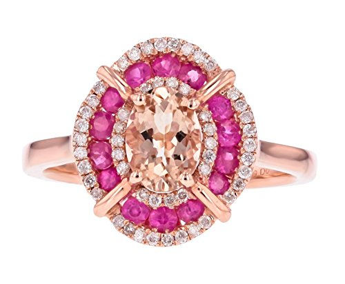 IGL Certified 14K Diamond Ring in Rose Gold with Natural Ruby and Morganite- Size 6 (Adjustable) ()