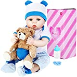 Aori Lifelike Realistic Reborn Baby Boy Doll 22 Inch Handmade Weighted Reborn Baby Doll with Bear Toy