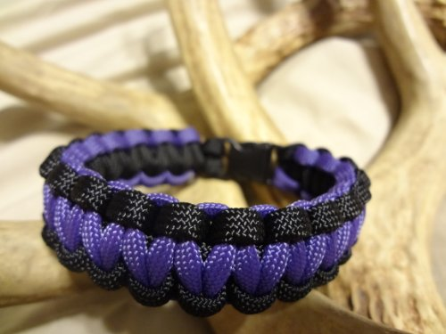 Paracord Survival Bracelet Black Border with Your Choice of Center Color, Choose Your Size, 27 Colors to Choose From By Bostonred2010 (PURPLE, 7″), Outdoor Stuffs