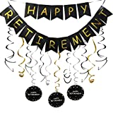 Happy Retirement Banner and Happy Retirement Hanging Swirls for...
