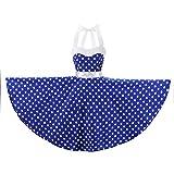 YW Halter 100% Cotton Polka Dot Floral 50s Style Vintage Retro Rockabilly Swing Dress (XL (US10/UK14/EU42), Blue White Polka Dot)