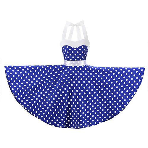 n Polka Dot Floral 50s Style Vintage Retro Rockabilly Swing Dress (Large, Blue White Polka Dot) ()