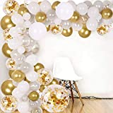 128pcsDIY Balloon Arch & Garland kit, Party Balloons Decoration Set, Gold Confetti & Silver & White & Transparent Balloons for Baby Shower, Wedding, Birthday, Graduation, Anniversary Organic Party
