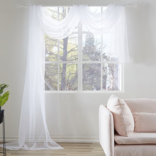- KEQIAOSUOCAI White Sheer Window Scarf Curtains Valance-Sheer Fabric Scarves for Wedding Party,52