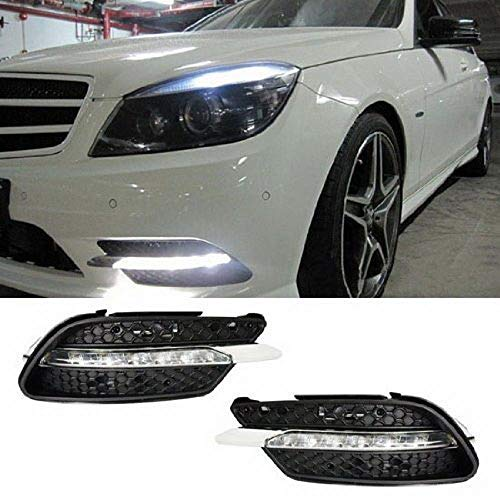 iJDMTOY Xenon White LED Daytime Running Lights For 08-10 Mercedes Benz W204 C-Class C300 C350 w/Sports Package Bumper, OEM Style DRL Assy Powered by 7 Pieces High Power LED Lights Each Lamp (Accessories Oem Mercedes)