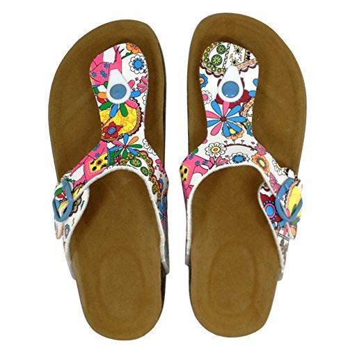 Toe Flop Strap for Summer Thong T Floral3 Women Sandals Buckle Flip Royou Yiuoer Flat Gladiator Open Beach qW8wXx4WZA