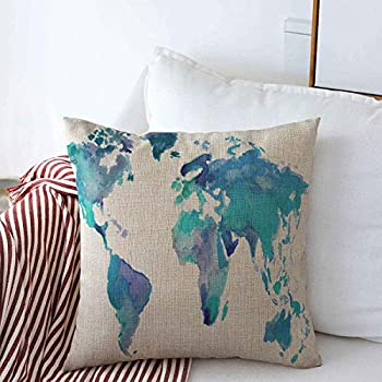 Pillow Case Artistic Globe Watercolor Blue World Map Planet Abstract Water Color Land Stain Farmhouse Decorative Throw Pillows Covers 20