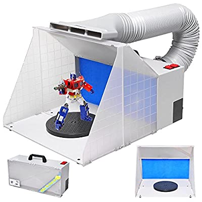 Mageshi Airbrush Spray Paint Booth Kit Portable with Hose, Powerful Fan, Fiberglass Filter Sponges, Revolvable Turn Table,On/Off Switch,Skidproof Rubber Feet for Toys Models Crafts US Delivery