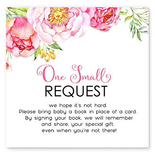 Mod Floral Bring a Book for Baby - Invitation Insert Card Set of 25 (Mod Invite)