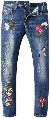 Sokotoo Men`s Birds Flowers Embroidery Denim Jeans / Sokotoo Men`s Birds Flowers Embroidery Denim Jeans