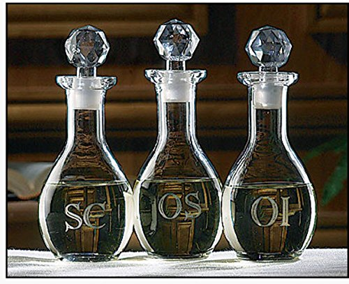 Glass Etched Ambry Set. Three pieces. ()