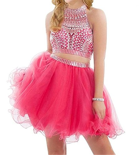 1b236f38873 MARSEN Women s Two Pieces Halter Homecoming Short Formal Prom Dresses  SH0180 Hot Pink Size 6