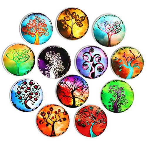 Life Fridge Magnet - 12pcs Tree Refrigerator Magnets, Crystal Glass Fridge stickers, Cosylove Tree of Life Magnets for Office,Cabinets,Whiteboards, Photos, Calendar, Decorative Fridge, Home Decoration