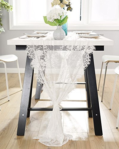 DOTHOUSE 30x120 Inch White Classy Lace Table Runner,Rustic Chic Wedding Reception Table Runner/Chair Sash,Party Decoration,Bridal Shower Décor (White Lace Table Runner)