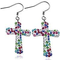 Stainless Steel Shamballa Cross Long Drop Hook Earrings w/ Colorful CZ (pair) - EEZ083